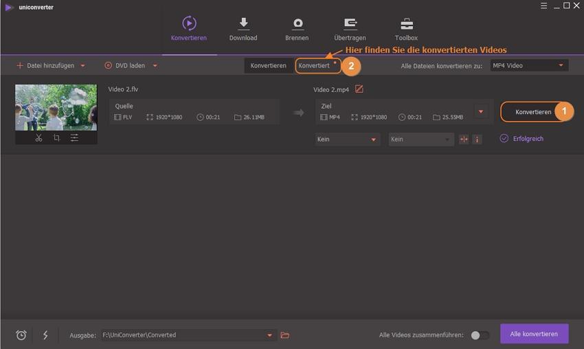 FLV zu MP4 konvertieren  - Konvertieren von FLV in MP4