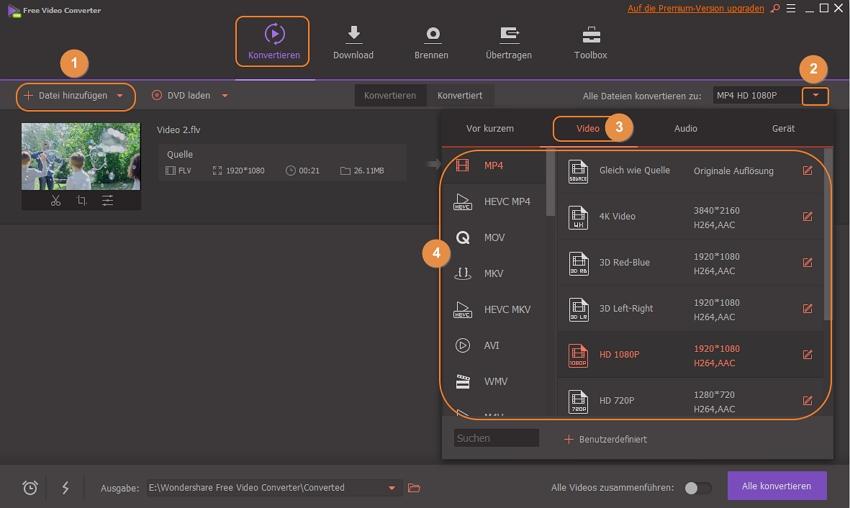 FLV zu MP4 konvertieren