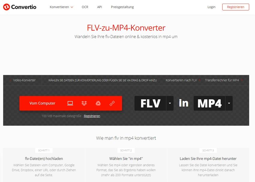 FLV zu MP4 online mit Convertio konvertieren
