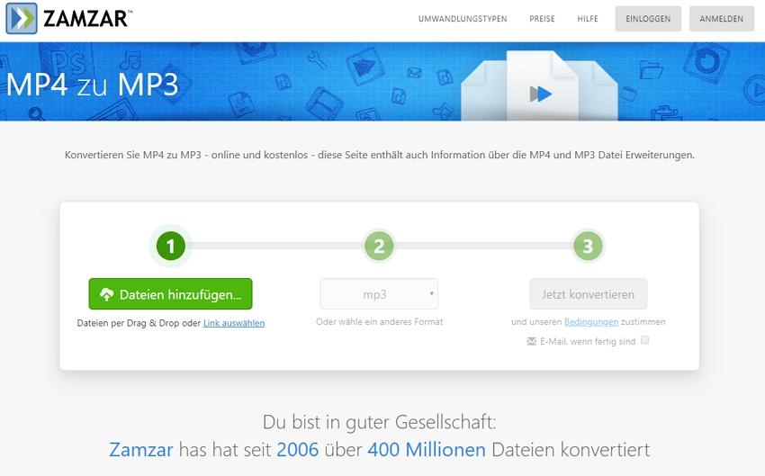 Zamzar MP4 zu MP3