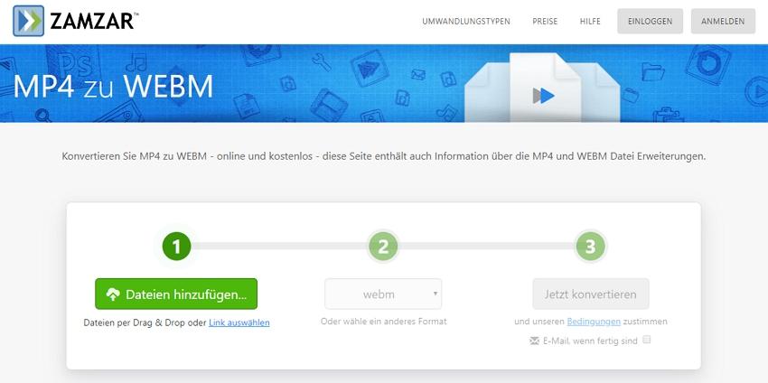 MP4 zu WebM Online Konverter- Zamzar