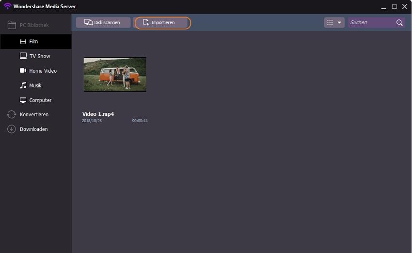 pc auf tv streamen: Datei importieren