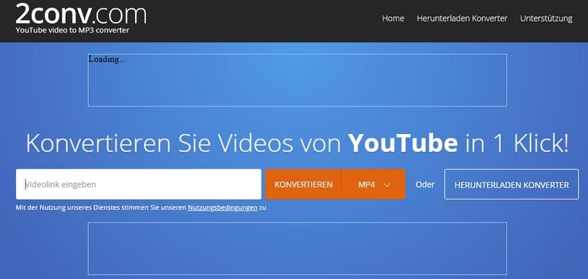 Kostenloser YouTube zu MP4 Converter - 2conv.com