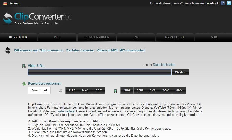 Online YouTube zu MP4 Converter - Clip Konverter