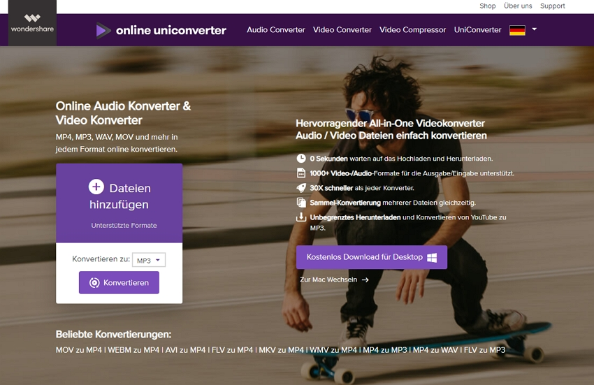 kostenloser Wondershare Online Video Konverter