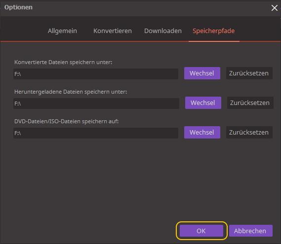 Den Wondershare Video Converter Ultimate einstellen ‒ Lokalisierungseinstellungen