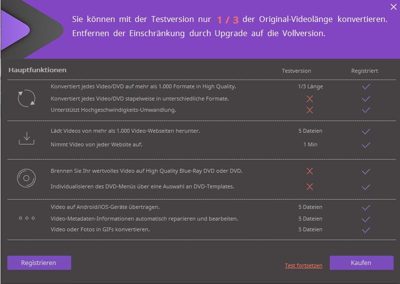 Den Wondershare Video Converter Ultimate registrieren ‒ Einschränkungen der Testversion