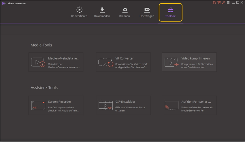 Wondershare UniConverter-Grundlagen ‒ Werkzeugkasten für Windows