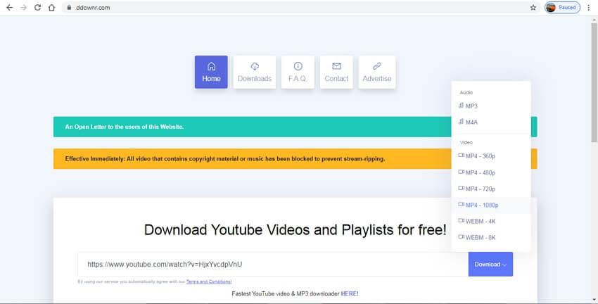 convertisseur youtube vers mp4 hd - DDownr