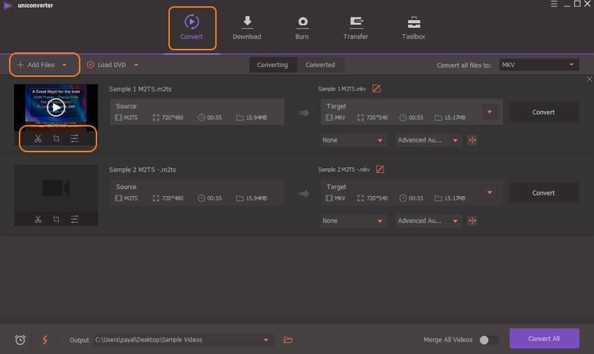agregar M2TS archivos para conversión