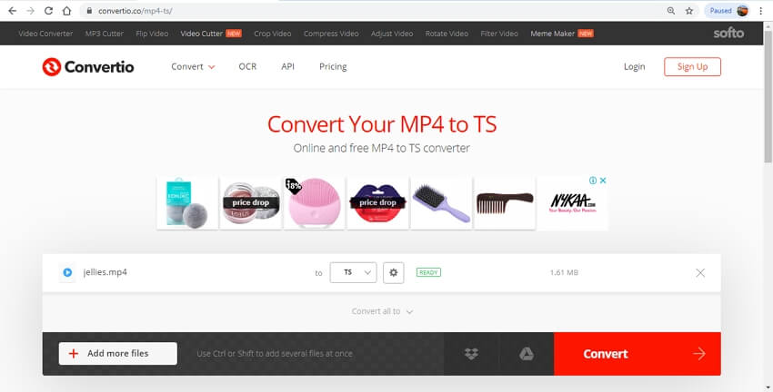 online MP4 to TS converter - convertio