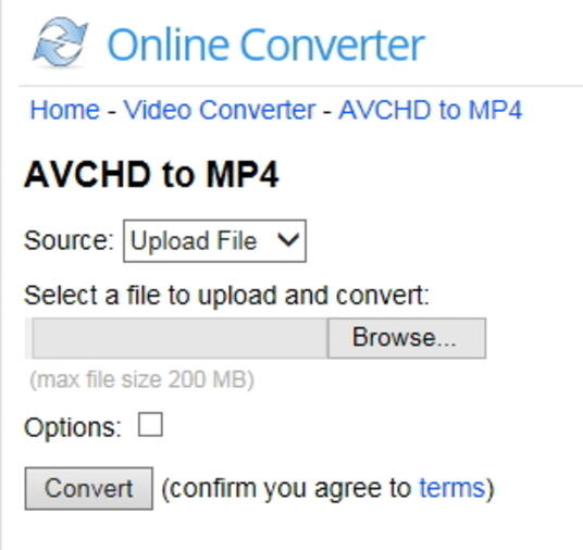 Online converter AVCHD to MP4