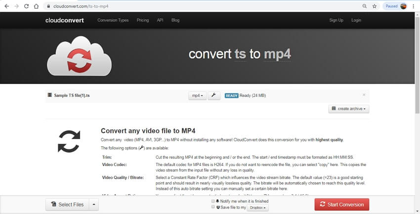 video ts in mp4 online converter, cloudconvert