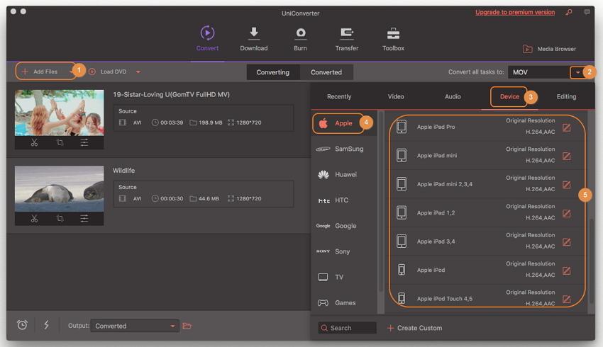Elige el formato compatible con iPad para reproducir AVI en iPad gratis