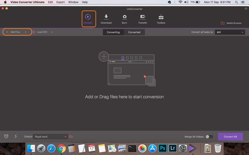 Cargar archivos AVI en Wondershare AVI converter para Mac