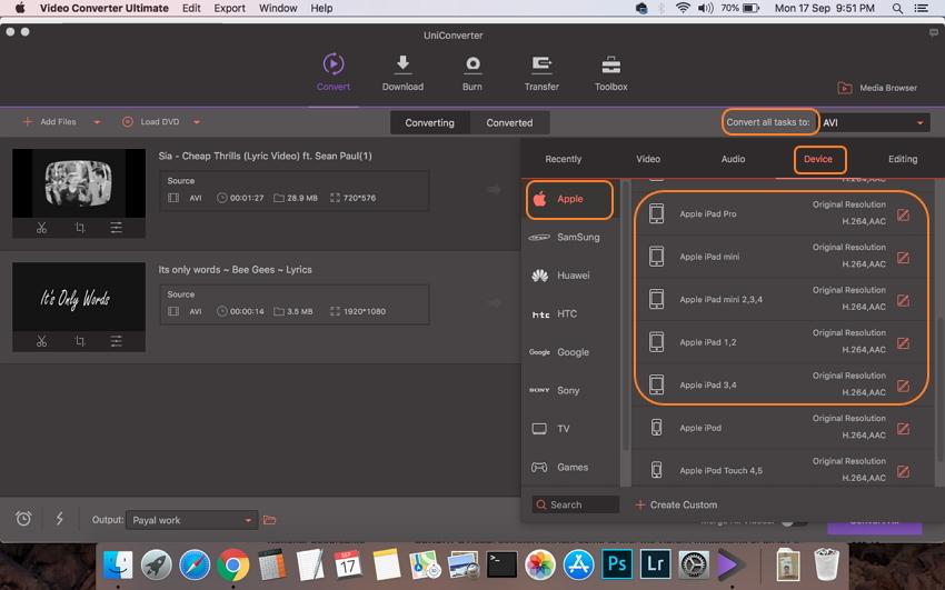 Elige el formato compatible con iPad