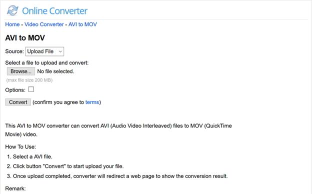 AVI to MOV Online Converter