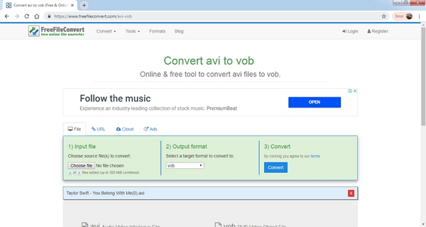 convert avi to vob by FreeFileConvert