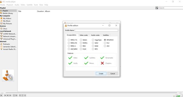 escoge MP4 como formato de salida en VLC