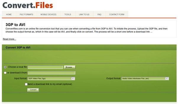 convert 3GP to AVI by Convert.Files