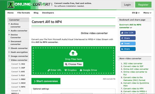 convertir AVI a MP4 mediante Online-Convert.com