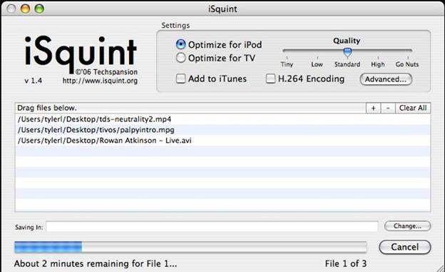 convertir AVI a MPEG con iSquint