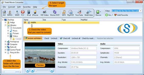 convert AVI to MPEG-4 using Total Movie Converter