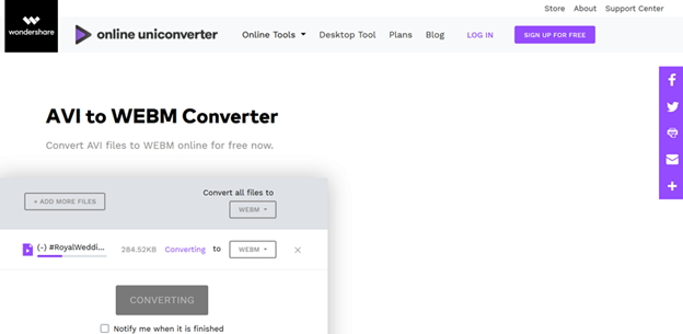 convert AVI to WebM by Media.io