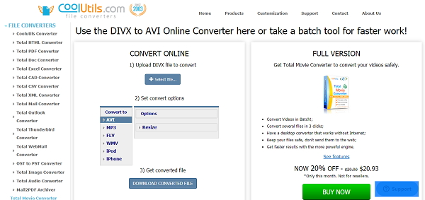 convert DivX to AVI online by CoolUtils online DIVX to AVI converter