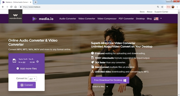 convert flv to avi by media.io