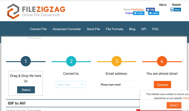 convert GIF to AVI by Filezigzag