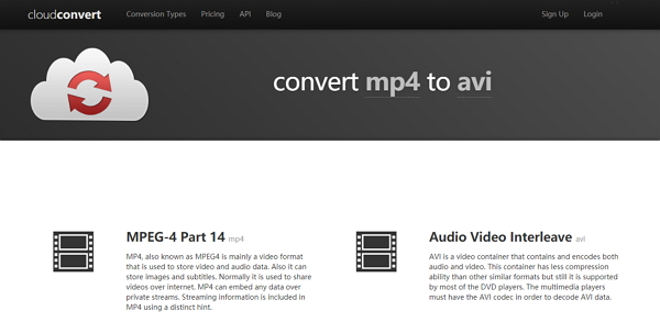 convert MP4 to AVI by Cloud Convert