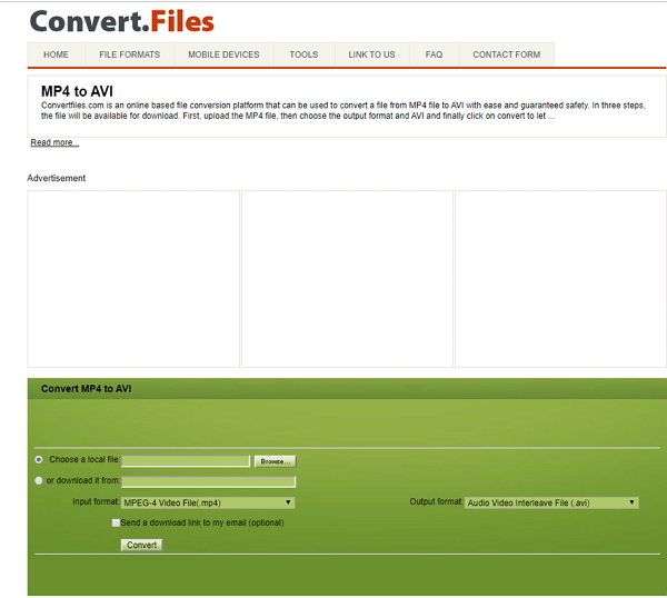 convert MP4 to AVI by Convertfiles