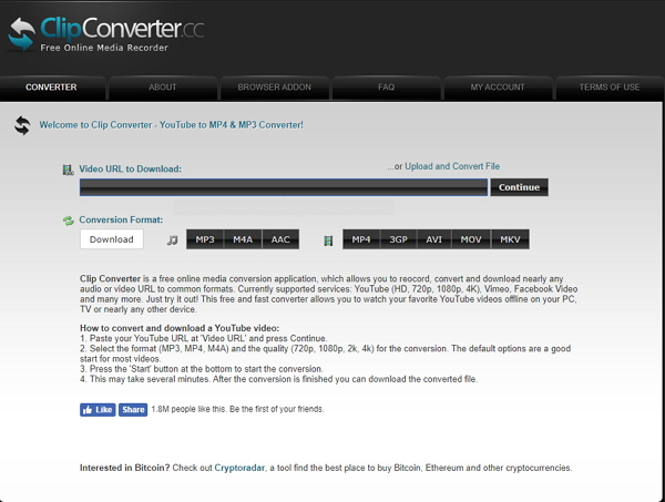convert mp4 to avi free with Clipconverter.cc