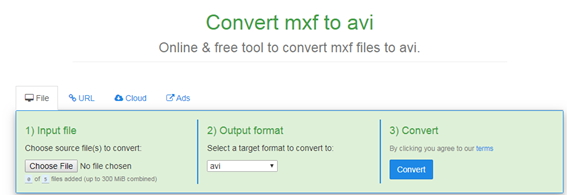 convert MXF to AVI by Freefileconvert