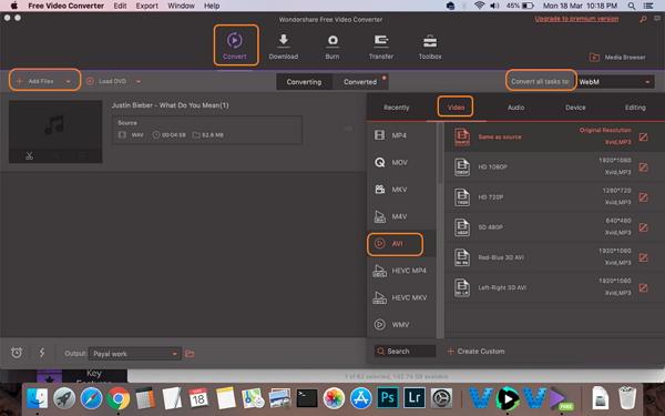 convert WAV to AVI by Wondershare Free Video Converter