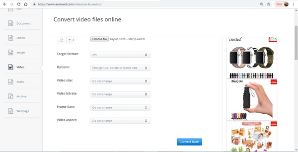convertir WebM a AVI online con AConvert