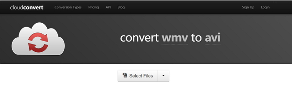 convert WMV to AVI online by Cloud Convert