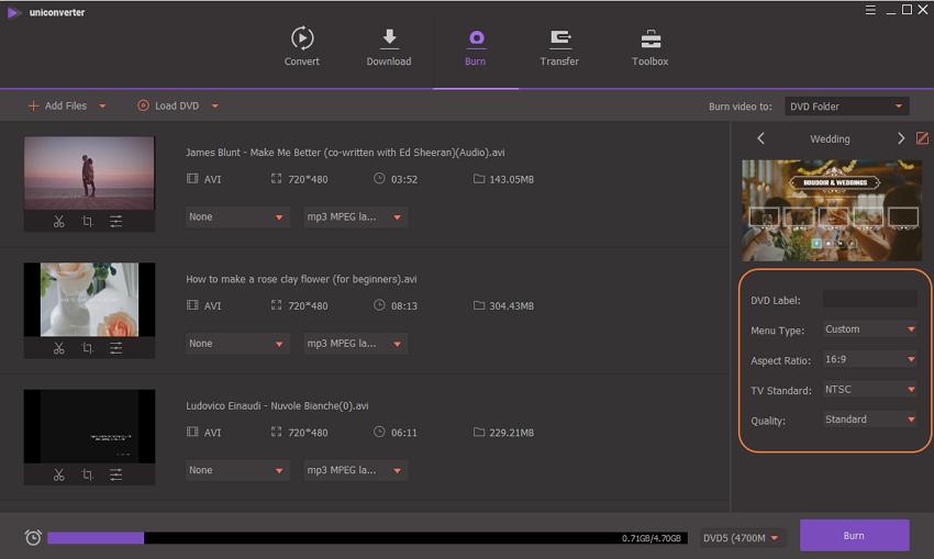 personaliza las configuraciones para la conversión de avi a dvd