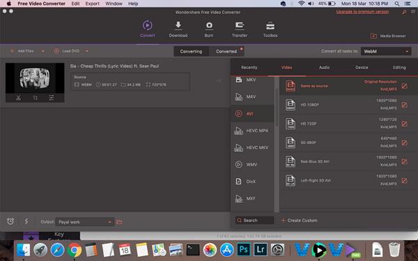 convertir WebM a AVI con Wondershare Free WebM to AVI Converter
