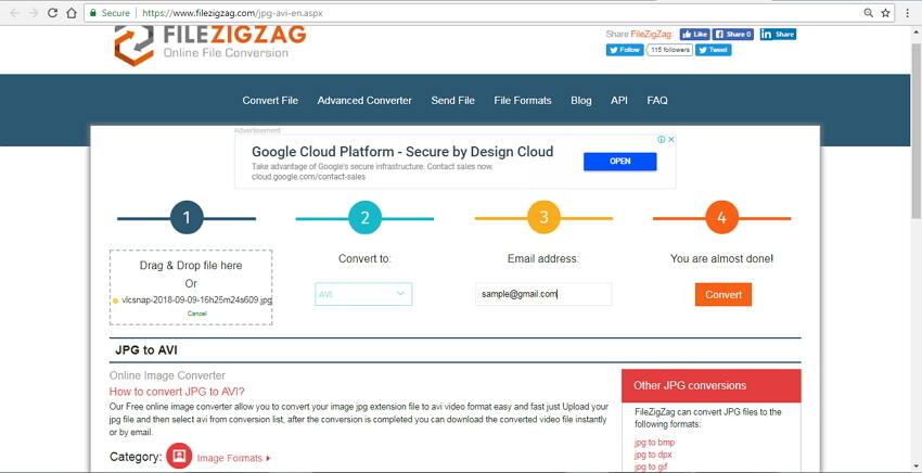 jpg to avi converter online File ZigZag