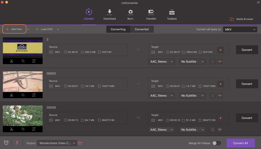 add AVI files to Wondershare UniConverter for Mac