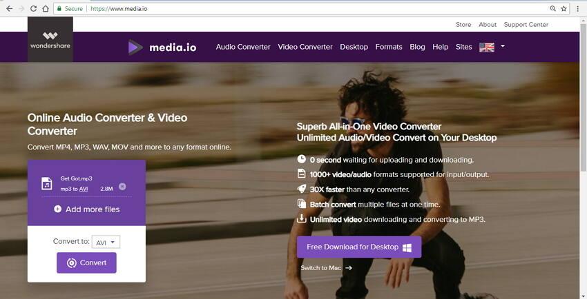 MP3 zu AVI online konvertieren mit Online UniConverter