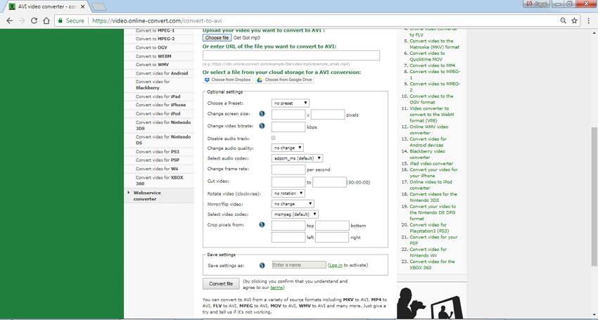 Convertir MP3 en AVI en ligne avec Online Convert