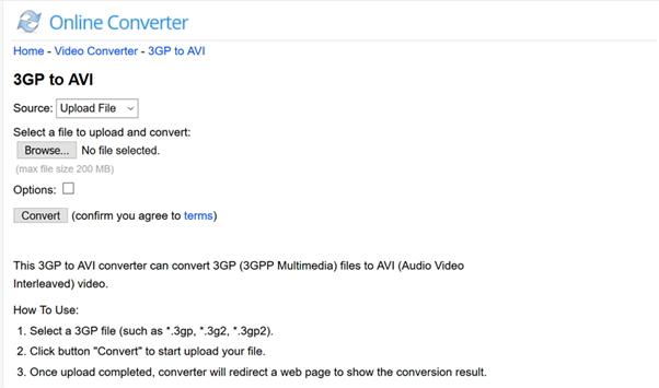 convert 3GP to AVI by Online 3GP to AVI Converter