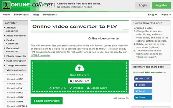 convertir AVI a FLV con Online Video Converter to FLV
