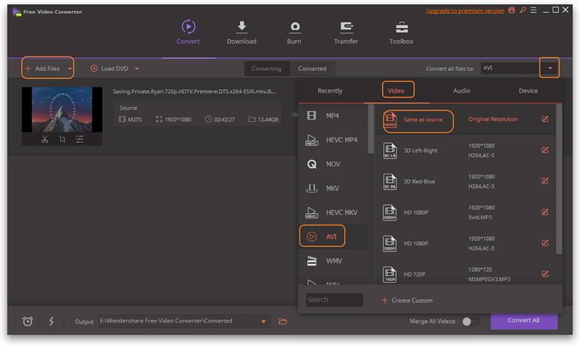 Convertir MP4 en AVI - Choisir le format de sortie