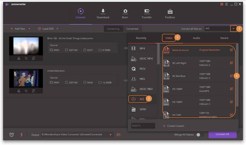 WMV in AVI umwandeln - AVI als Ausgabeformat auswählen