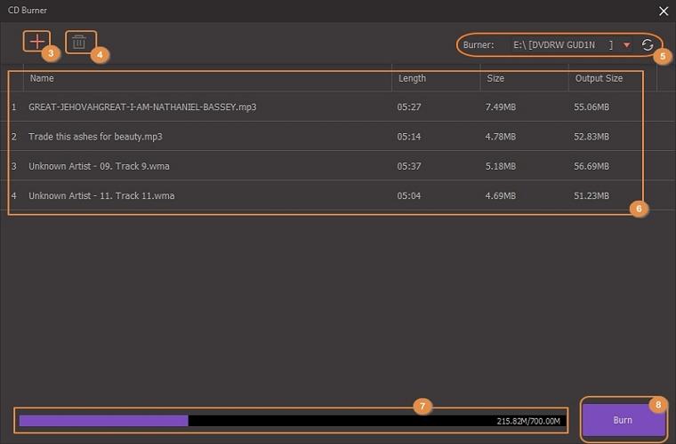 edit files to cd burner