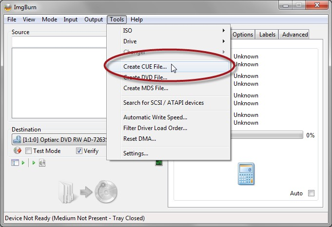 select files to audio cd burner